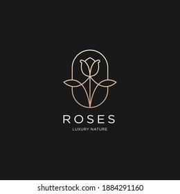 Roses line art style. flower luxury beauty salon, fashion, skincare, cosmetic, nature and spa products.