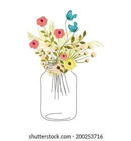 Roses In Mason Jar
