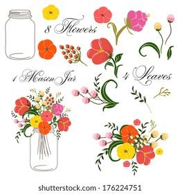 Roses In Mason Jars set