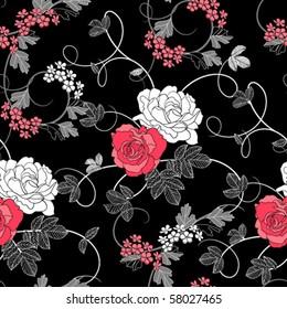 Roses on black background
