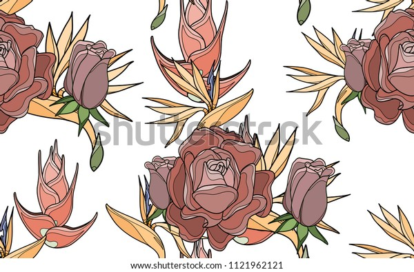 Roses and paradise bird flowers. Palm leaves and exotic flowers composition. Vector illustration. Botanical seamless background. Digital nature art.