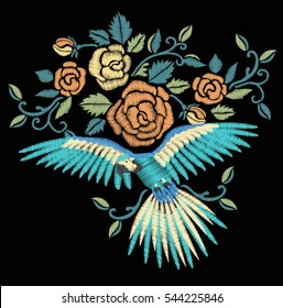 Roses and parrots.Embroidery design.vector