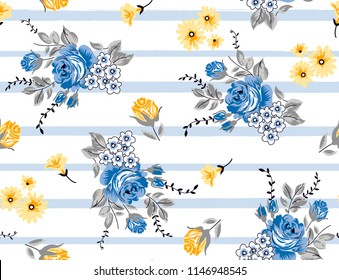 Roses pattern Bouquet Roses on decorative horizontal lines for textile pattern,repeating print for fabric