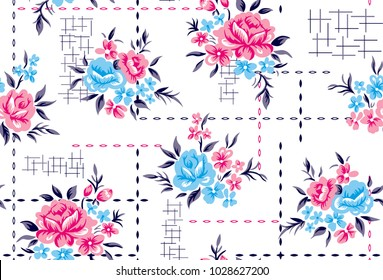Roses pattern with decorative background