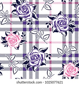 Roses pattern with leaves on plaid background for textile print