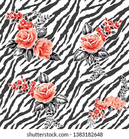 Roses pattern on zebra background floral design fashion print,seamles drawing,fabric