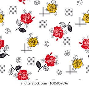 Roses Pattern yellow and red color with decorative elements for textile pattern,fashion print,fabric design