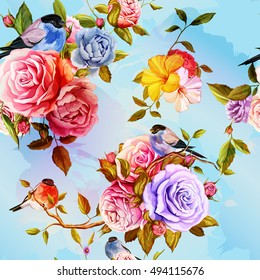 Roses, peony with leaves  and bird on blue. Watercolor. Seamless background pattern. Vector - stock.