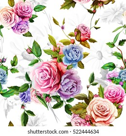 Roses, peony with leaves and chamomile with cornflowers on white background. Watercolor.  Seamless background pattern. Vector - stock