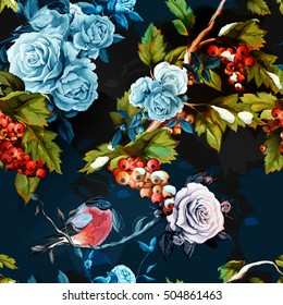 Roses, peony, rowan-berry with leaves and bird on dark. Watercolor. Seamless background pattern. Vector - stock.