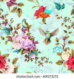 Roses, poppy, wild flowers, nightingale birds, lily of the valley, cornflower with leaves on pastel flower background. Seamless pattern. Watercolor, hand drawn, vector - stock.