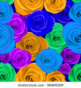 Roses seamless background. Vector
