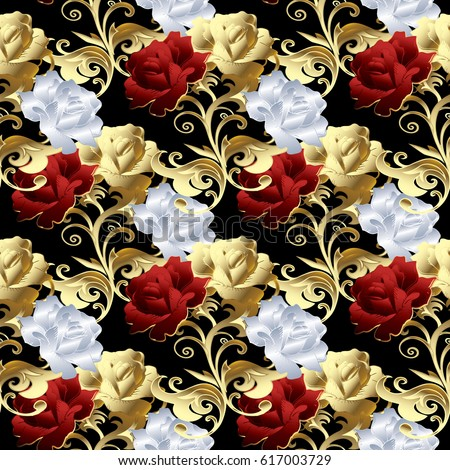 Floral Black Background Wallpaper Illustration With Vintage Red Gold And White