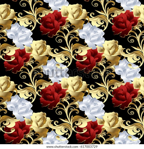 Roses Seamless Pattern Floral Black Background Stock Vector