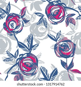 Roses Seamless Pattern. Hand Drawn Background. Vector Illustration.