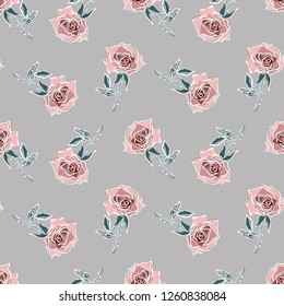 Roses Seamless Pattern on a Gray Background. Vector Template. Hand Drawn Illustration.
