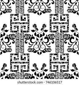 Roses seamless pattern. Vector floral white background. Modern floral wallpaper. Hand drawn vintage black roses flowers, swirl leaves, ornamental meander, greek key  ornaments. Isolated roses pattern