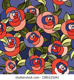 Roses seamless pattern. Vector illustration of the crazy colored roses on blue background
