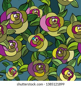 Roses seamless pattern. Vector illustration of the crazy colored roses on turquoise background