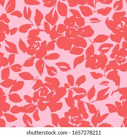 Roses silhouettes. Seamless pattern made of roses, leaves and petals. Vintage style repeat botanical ornament. Floral design for fashion, textile, fabric, clothes, dress, wallpaper, wrapper.