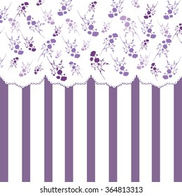 Roses and stripes Vintage background with purple silhouettes of roses and stripes