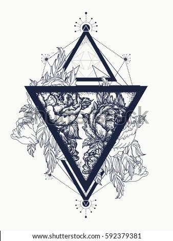 Roses Triangle Tattoo Art Symbol Freedom Stock Vektorgrafik