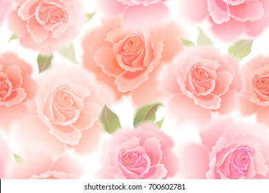 Roses. Vector seamless pattern. Bokeh flower. Hand drawing pastel. Realistic floral illustration - design template luxury packing, textiles, paper. Pink flowers and green leaves on white background.