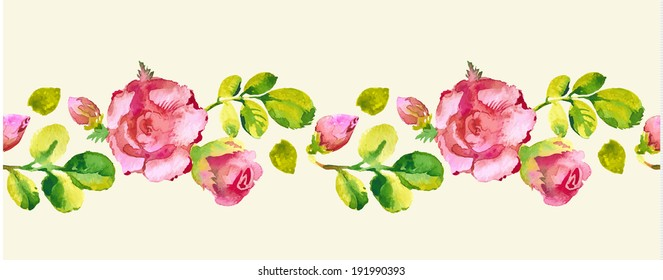 Roses watercolor seamless pattern. Vector illustration