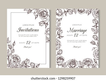 Roses weddding invitation. Hand drawn floral elegant vintage card with rose frame in victorian engraving style. Illustration of wedding invitation, marriage date poster