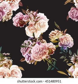 Roses,Carnations, Peony with leaves. Different flowers. Seamless background pattern. Vector - stock.