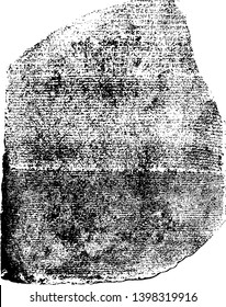 The Rosetta Stone Front View or Ancient Egyptian text back stone is rough vintage line drawing or engraving illustration.