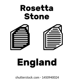 Rosetta Stone icon in the British Museum as a tourist attraction