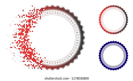 Rosette circular star frame icon in dissolved, dotted halftone and undamaged entire variants. Particles are grouped into vector sparkle rosette circular star frame icon.