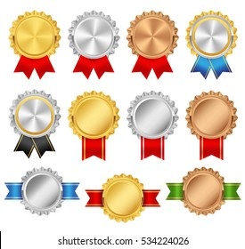 Rosettes with red, green, blue, black, glossy ribbons. Rosette premium vector set. Golden, silver, bronze trophy award collection.