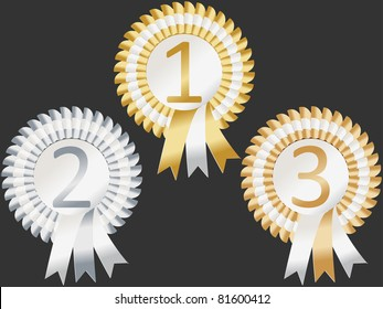 Rosettes to represent first, second and third