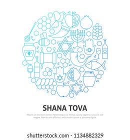Rosh Hashana Circle Concept. Vector Illustration of Outline Design.