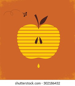 Rosh hashana greeting card with abstract apple  illustration