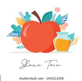 Rosh Hashana, Jewish holiday. Translation from Hebrew - Happy New Year. Apple, honey, pomegranate, flowers and leaves, Jewish New Year symbols and icons. Vector illustration