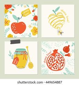 Rosh Hashana (jewish new year) greeting card set design with hand drawing apple, honey and pomegranate