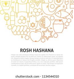 Rosh Hashana Line Concept. Vector Illustration of Outline Template.
