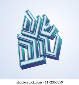 rosh hashana typography type text. hebrew letters. hebrew new year celebration rosh hashanah flat modern font. israel and israeli holiday.