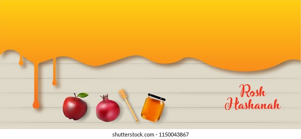 Rosh Hashanah banner design and illustration with honey drip and fruits. jewish new year banner design. vector illustration.