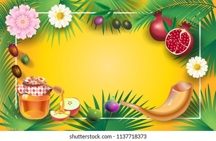 "Rosh Hashanah greeting card - Jewish New Year. Text ""Shana Tova!"" on Hebrew - Have a sweet year. Honey  apple, shofar, pomegranate, palm leafs frame banner. Rosh hashana, sukkot Jewish Holiday Israel"