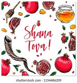 Rosh Hashanah hand drawn vector card, border, background, banner, frame with honey, pomegranate and shofar horn,with handlettered sign Shana Tova!