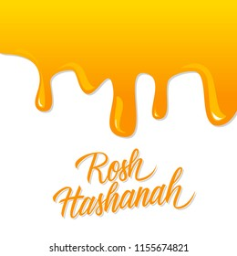 """Rosh Hashanah hand lettering with liquid honey background. Jewish New Year holiday card. Perfect for holiday greetings and invitations. Phrase translated """"Happy New Year"""". Vector illustration."""
