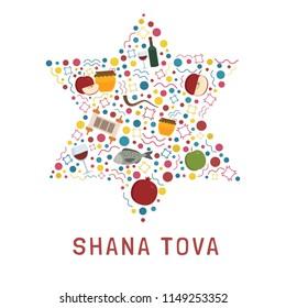 "Rosh Hashanah holiday flat design icons set in star of david shape with text in english ""Shana Tova""."