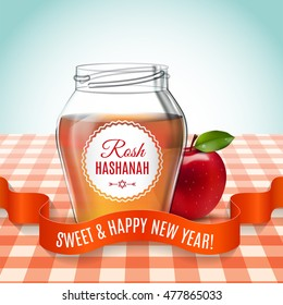 Rosh Hashanah holiday. Sweet and happy new year. Background with honey and apple on the table. Shana tova poster and set icon. Vector illustration. EPS 10