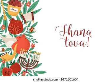 Rosh Hashanah horizontal backdrop with Shana Tova phrase decorated by menorah, shofar horn, honey, apples at left edge. Flat cartoon vector illustration for Jewish religious holiday celebration.