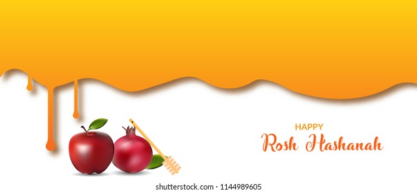 Rosh Hashanah Jewish holiday banner design with honey jar, apple and pomegranate. Vector illustration of rosh hashanah banner.