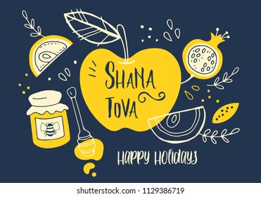 Rosh Hashanah (jewish new year) greeting card design with hand drawing apple, honey and pomegranate. Vector illustration